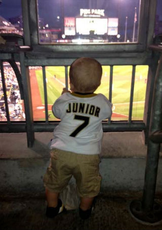 August 28th, 2013: Benjamin Jr. enjoys his first Pirates game.