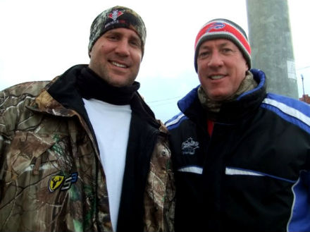 "February 25, 2011:  Posing with Jim Kelly in Buffalo, NY after dining at ""Pete's Place""."
